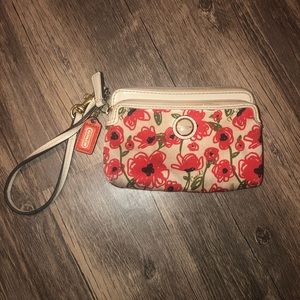 Coach Small Wristlet Canvas and Leather